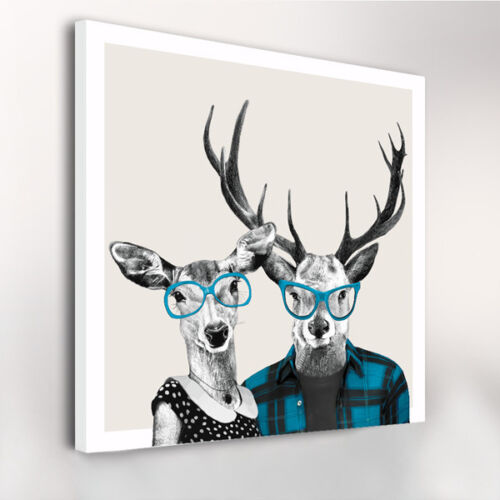 CANVAS PRINTS ROE DEER WEARING GLASSES W80CM xH80CM xD4CM STRETCHED WALL ART