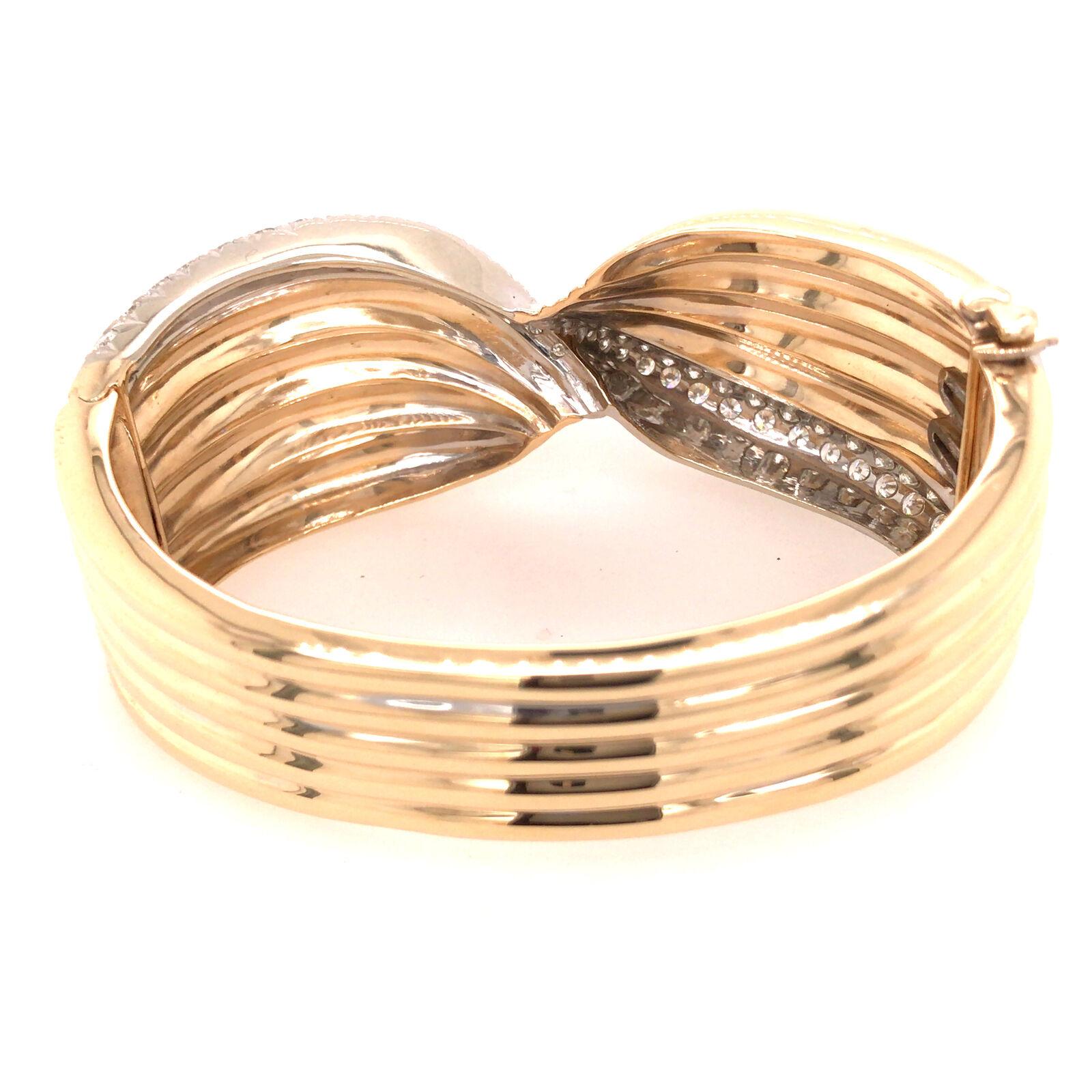 14K Wide Diamond Twist Cuff Two-Tone Gold - image 5