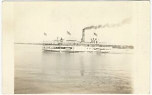 Lake-Excursion-Steamer-with-Flags-Summer-Ship-Voyage-Real-Photo-Postcard