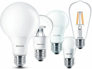 Lampadine led e27 philips da 4w a 13 5w globo goccia for Lampadine a filamento led