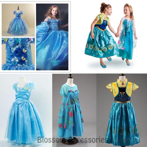 CFR10 Frozen Fever Princess Anna Elsa Cinderella Movie Party Dress Girls Costume