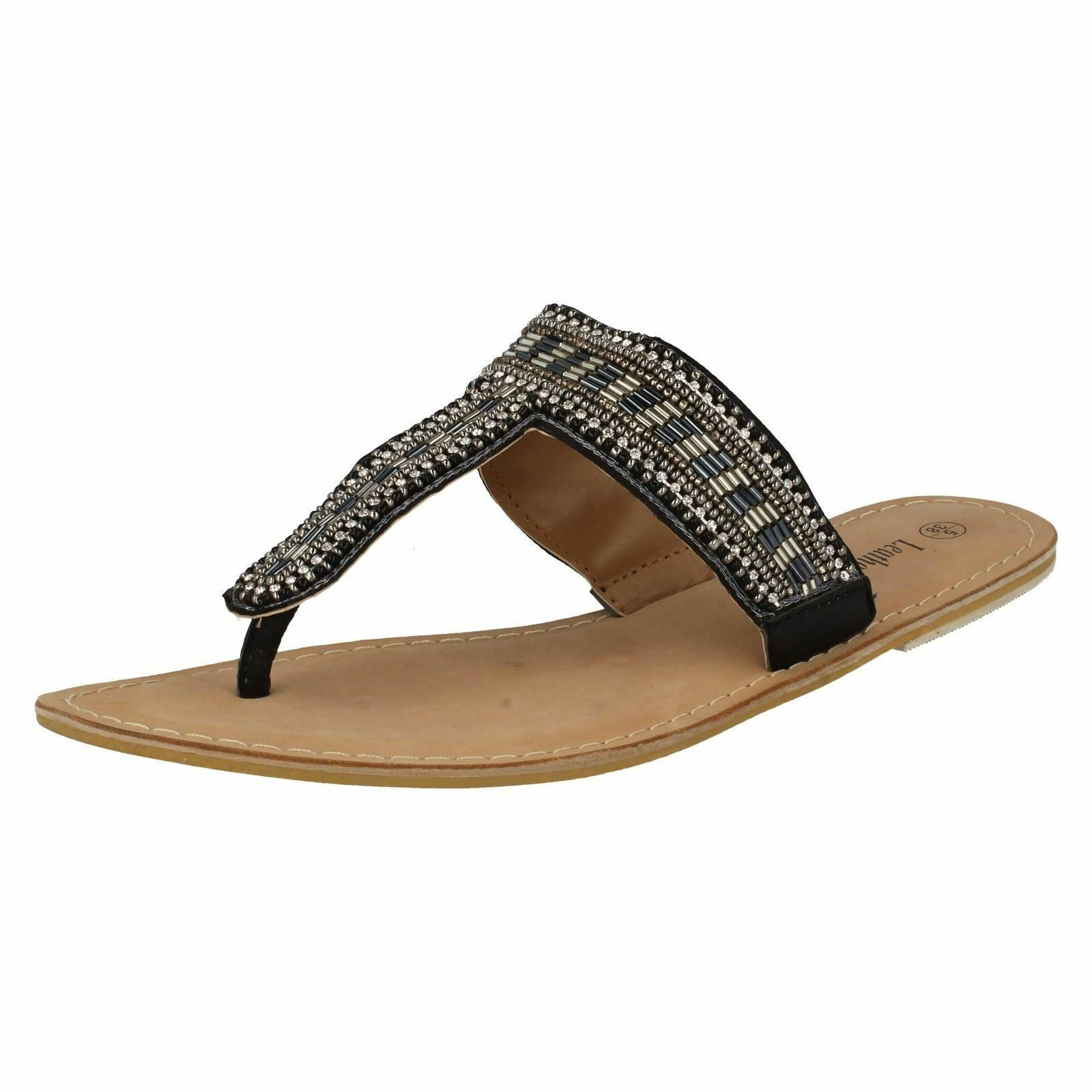 SALE Leather Collection Toe F0895 Ladies Black Beaded Leather Toe Collection Post Sandals 319cd4