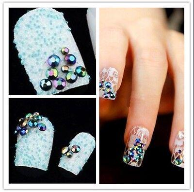 300pcs 3D Nail Art Tips gems Crystal Glitters Rhinestone DIY Decoration + Wheel