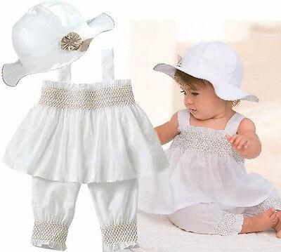 3pcs Newborn Baby Girls Kids Dress Top+Pants+Hat Clothing Set Clothes Princess