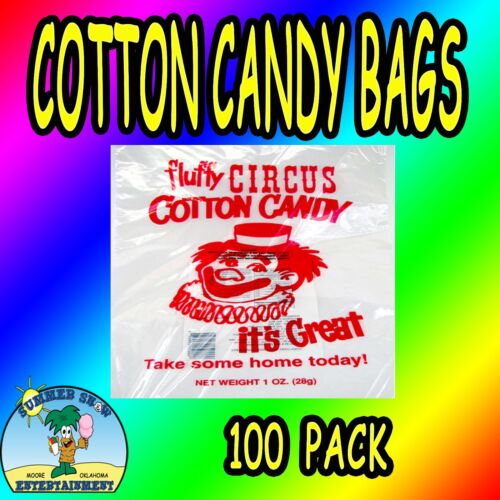 New 100 Cotton Candy Bags-Circus Clown-Gold Metal