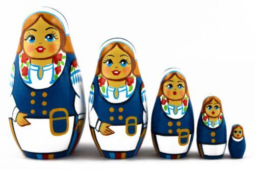 Finnish Suomen Folk Dress Russian Stacking Nesting Dolls Matryoshka set 5 Pcs