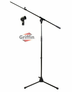 GRIFFIN Microphone Stand - Telescopic Mic Boom Mount Stage Studio Holder Clip