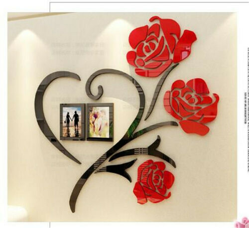 3D stereo mirror wall stickers Rose decoration background wall