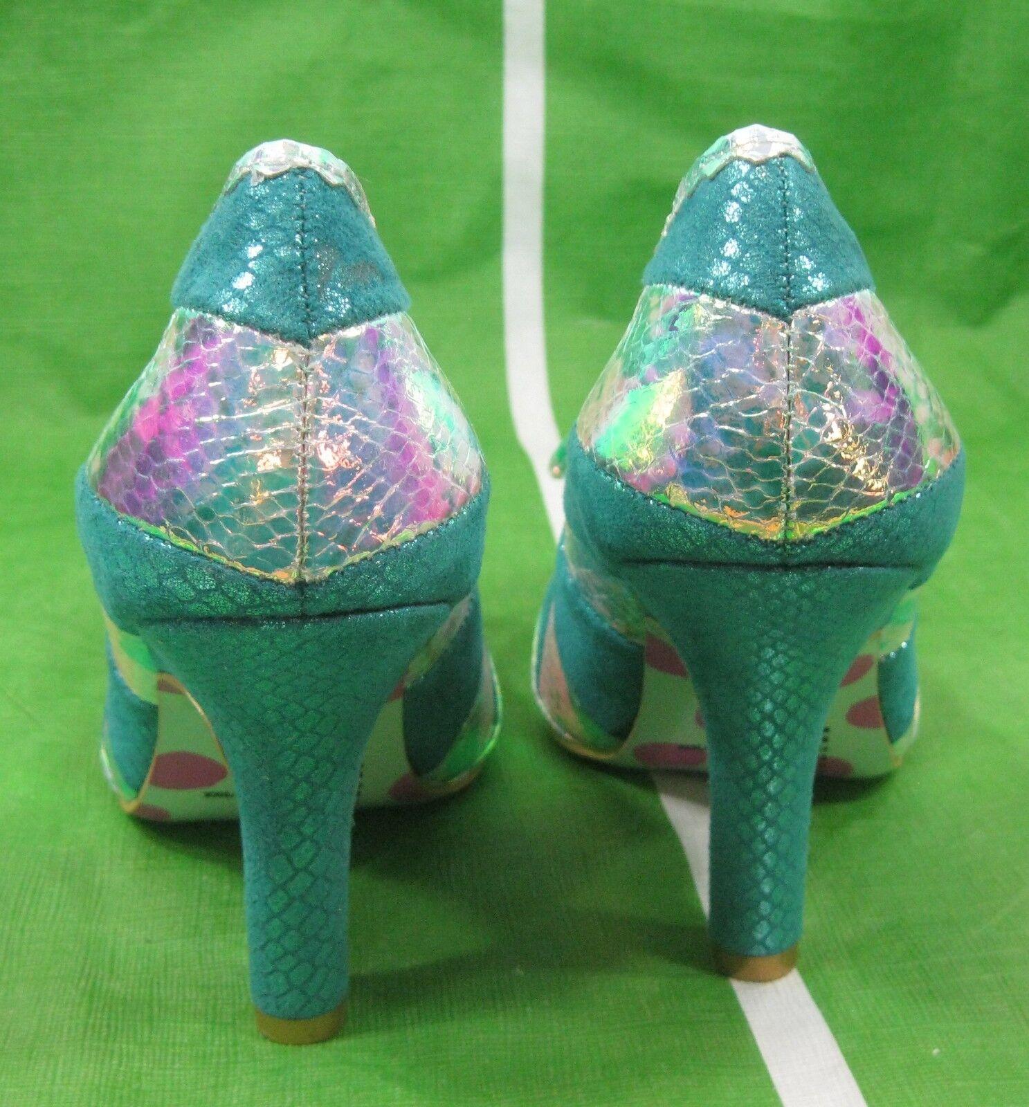 Kobra Metallisch Grün 10.2cmhigh Absatz Absatz Absatz Schlange Zeh Sexy Schuhe Größe 7 b39ed2