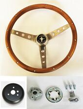 "1965-1969 Mustang Wood Steering Wheel Grant 15"" Genuine Hardwood Walnut Finish"
