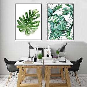 Modern Nordic Green Plant Leaf Canvas Art Poster Print ...