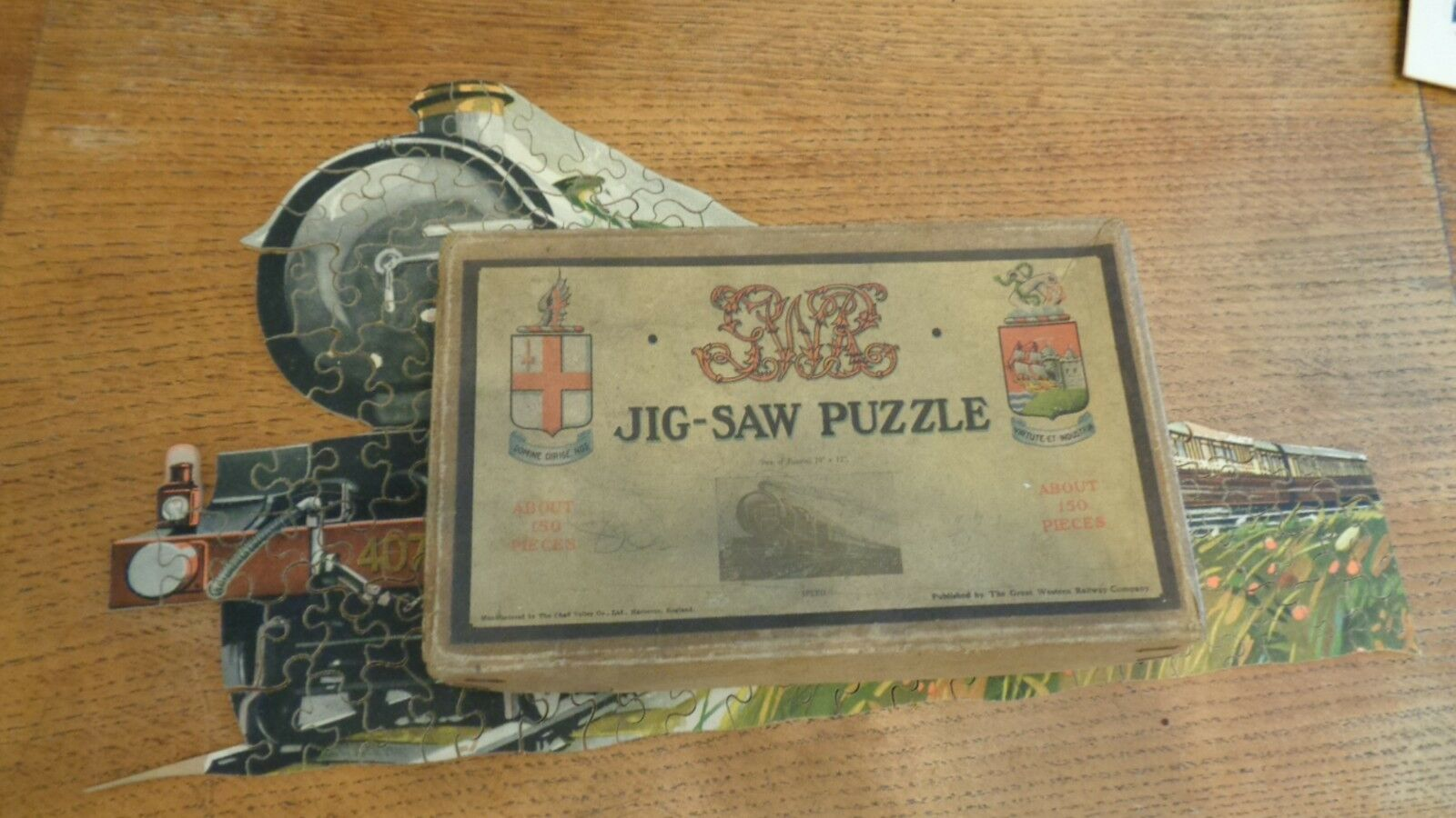 VINTAGE 1928  BOXED G.W.R CHAD VALLEY RARE     SPEED    WOODEN JIGSAW PUZZLE 2fe6c2