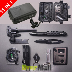 Survival Tools Kit 10 in 1 Tactical Camping Emergency Outdoor Military EDC Gear