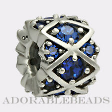 Authentic Chamilia Silver Shimmering Blue Stones Bead JB-36B