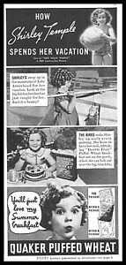 1937-SHIRLEY-TEMPLE-QUAKER-PUFFED-WHEAT-summer-vacation-photo-Print-Ad