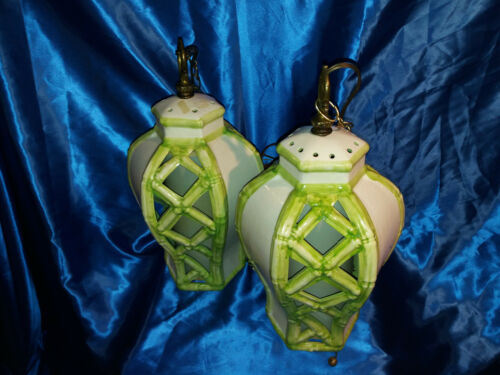 Asian Lamp Chinese Lamp Korea Lamp Hanging Lamp With Chains 2 Piece Capodimonte