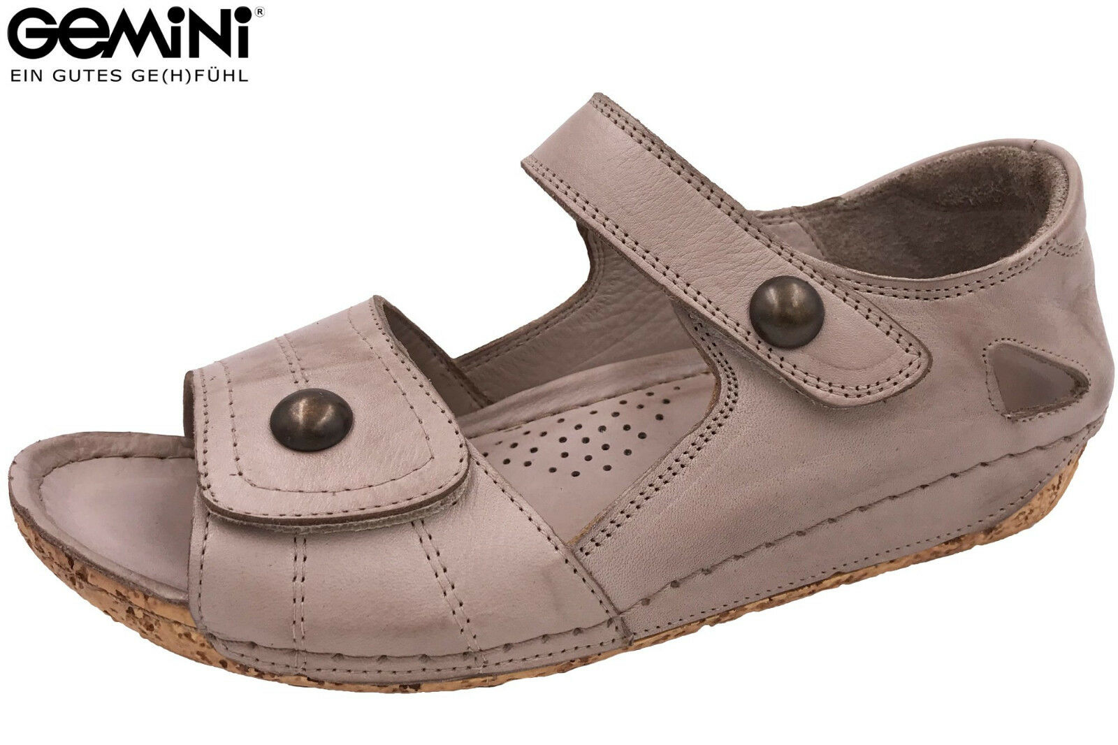 Gemini Damen Sandalee Grau Beige Taupe Leder Sommer Schuhe 32093 NEU