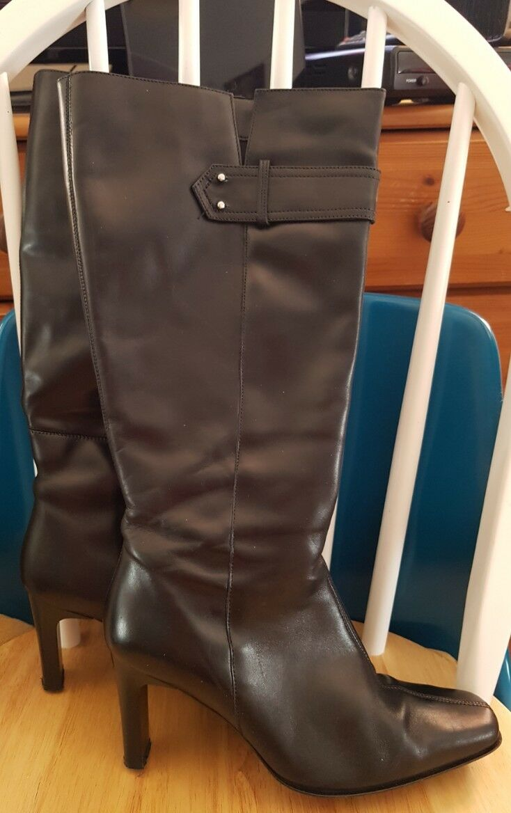 Ladies evans black leather knee high boots 4wide fit 37