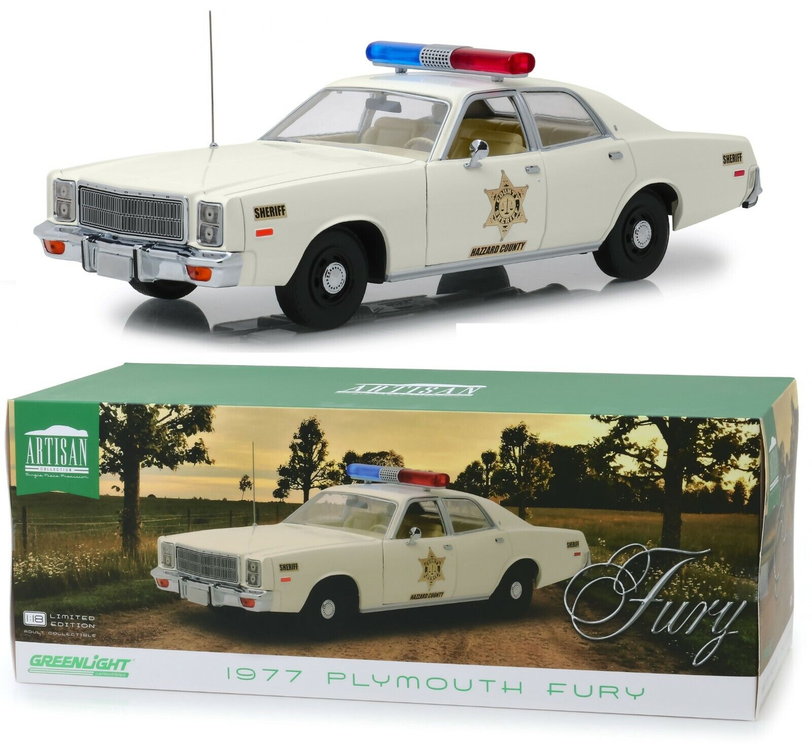 1 18 verdelight  Dukes of Hazzard County Sheriff  Roscoe's 1977 Plymouth  Nuevo en Caja