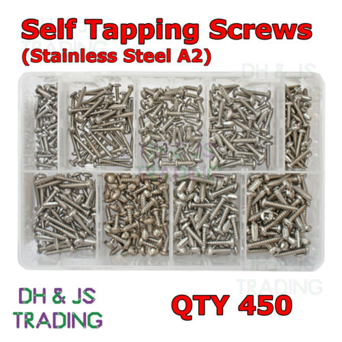 Assorted Box of Stainless Steel Self Tapping Screws 450 Tappers Screw