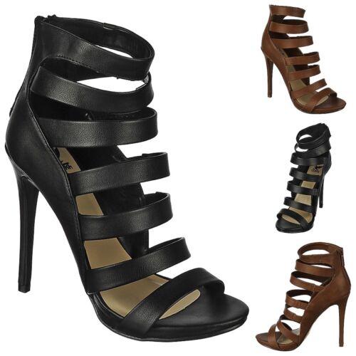 Gladiator Strappy Booties Open Toe Stiletto High Heels Platform Pumps Size H15