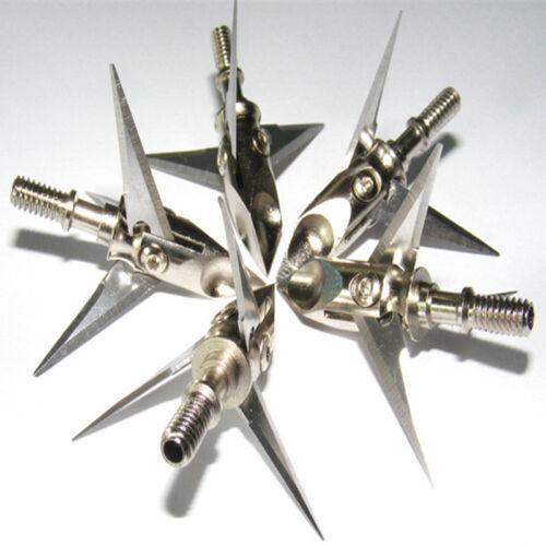 6pcs 100grain 3 Blade Arrowhead Archery Arrow Tips Points Hunting Bow Sharp New