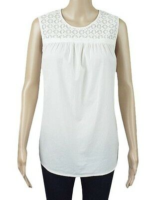 """WOMENS LADIES /""""EX M/&S/"""" PURE COTTON LACE YOKE SLEEVE LESS TOPS TUNIC STYLE TOP"""