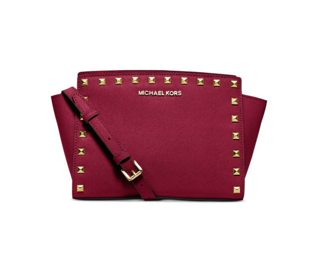 242ed3049e1efd Michael Kors Selma Stud Medium Leather Messenger Crossbody Cherry  30t3gsmm2l 848
