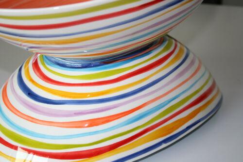 BASSANO ovale Schale Schüssel mit Streifen italienische Keramik 40x27 blau