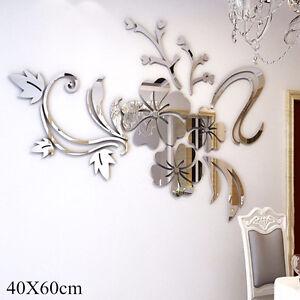 3D-Spiegel-Blume-Aufkleber-Wand-Aufkleber-DIY-abnehmbare-Dekor-uu