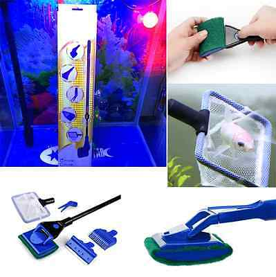 5 in 1 Complete Aquarium Clean Set kit Tools  Fish Net/Fork/Sponge/Scraper/Rake
