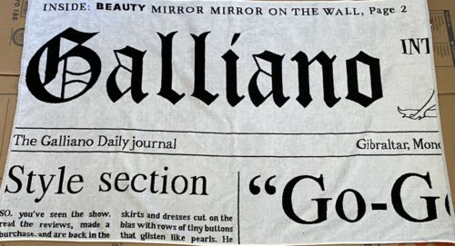 Rare Vtg John Galliano Newspaper Print Beach Towel