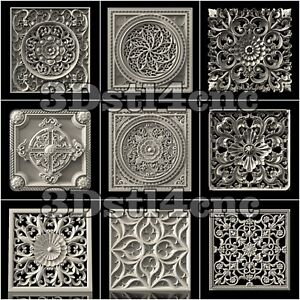 9-3D-STL-Models-Wall-Panels-for-CNC-Router-Carving-Machine-Artcam-aspire-Cut3D