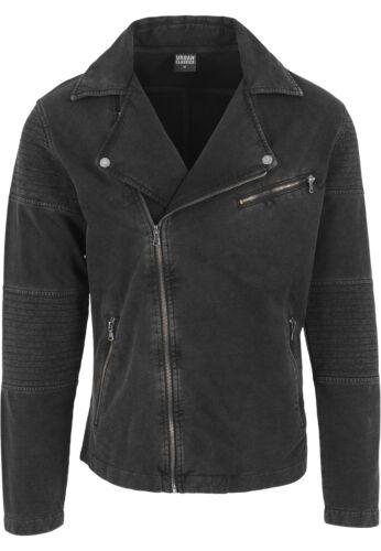 Urban Classics Men/'s Between-Seasons Jacket Acid Wash Terry Biker Jeans Jacket