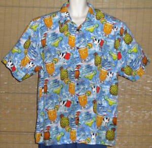 Big-Dogs-Hawaiian-Shirt-Light-Blue-Red-Yellow-Green-Cocktail-Recipes-Size-2X