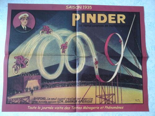 Affiche collection cirque Pinder Triple looping en motocyclette moto Bigford
