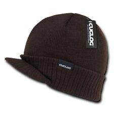 Brown Visor Brim Jeep Knit Army Warm Winter Ski Skull Beanie Beanies Hat Hats