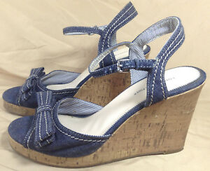 25026aab12 Image is loading Tommy-Hilfiger-Wedge-Sandals-Open-Toe-Cork-amp-