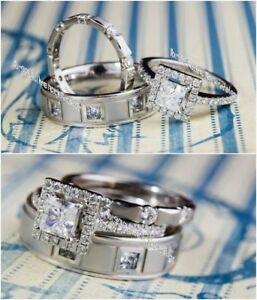 Diamond Wedding 14K White Gold Over Trio His And Her Bridal Engagement Ring Set