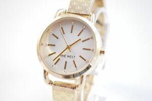 Nine-West-NW2102SVGB-White-Dial-Gold-Monogram-Signature-Bangle-Watch
