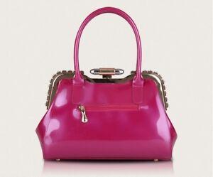 Dettagli su Borsa donna secchiello manici tracolla rosa lucido elegante pelle sintetica 2362
