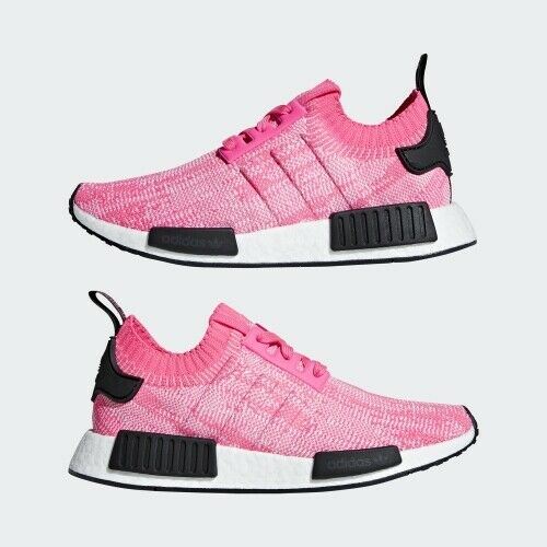 Adidas Originals NMD_R1 Primeknit Running shoes Boost Athletic Pink-Black-White