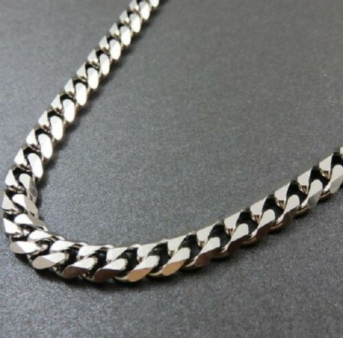 Collar De Acero Inoxidable 60cm Pesado Plata Bordillo Enlace cubano cadena 24 pulgadas N99 Reino Unido
