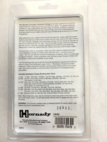 without body Hornady HK55 Lock-n-Load 5pc Bushing Set for Headspace Gauge