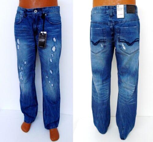 blue distressed ripped slim straight denim jeans P571 Men/'s BLEECKER /& MERCER m