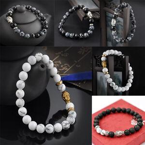 New-Black-Men-Lava-Rock-White-Howlite-Stone-Silver-Buddha-Head-Beaded-Bracelet