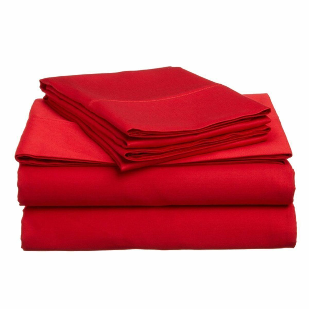 Red Solid Bed Sheet Set All Extra Deep Pkt & Sizes 1000 TC Pure Egypt Cotton