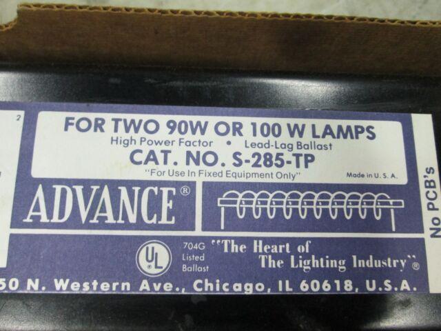 Advance Transformer 2-F90T17 Preheat Light Ballast for 2 Lamps 90//100W S-285-TP