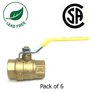 """3/4"""" IPS Full Port Brass Ball Valve CSA Approved 600 WOG Lead Free- Pack of 6"""