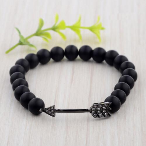 NEW Exquisite Men Bracelet Cubic Zircon Arrow Shape Matte Lava Stretch Bracelet